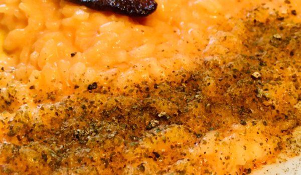 Razza77 con crema di peperone rosso e robiola di capra